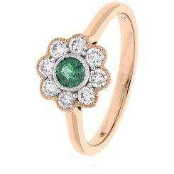 HRRGEM1068 Emerald Gemstone Flower Halo Ring - rose