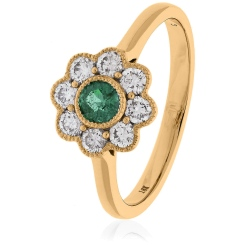 HRRGEM1068 Emerald Gemstone Flower Halo Ring - rose