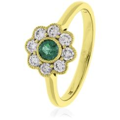 HRRGEM1068 Emerald Gemstone Flower Halo Ring - yellow