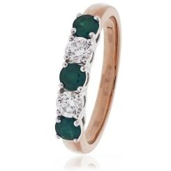 HRRGEM983 Emerald & Diamond 5 Stone Diamond Ring - rose