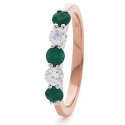 HRRGEM986 Emerald 5 Stone Diamond Ring - rose