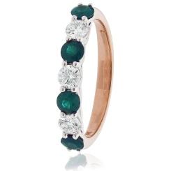 HRRGEM989 Emerald 7 Stone Diamond Ring - rose
