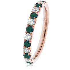 HRRGEM992 Emerald & Diamond Half Eternity Ring - rose