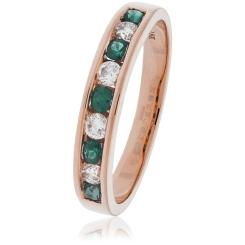 HRRGEM995 Emerald Gemstone & Diamond Eternity Ring - rose