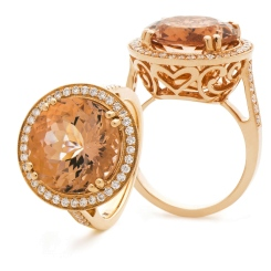 HRRGMG1135 Designer Round Shape Morganite & Diamond Single Halo Ring - rose