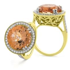 HRRGMG1135 Designer Round Shape Morganite & Diamond Single Halo Ring - yellow