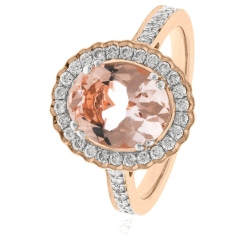 HRRGMG1139 Round Shape Morganite & Diamond Single Halo Ring - rose