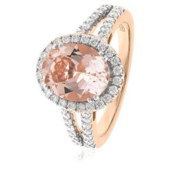HRRGMG1140 Round Shape Split Shank Morganite & Diamond Single Halo Ring - rose
