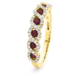 HRRGRY1000 Ruby & Diamond Designer Eternity Ring - yellow