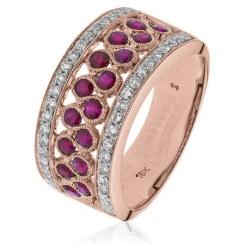 HRRGRY1004 Ruby & Diamond Designer Cocktail Swirl Eternity Ring - rose
