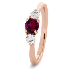 HRRGRY1019 Ruby and Diamond Three Stone Ring - rose