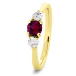 HRRGRY1019 Ruby and Diamond Three Stone Ring - yellow