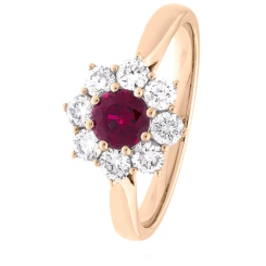 HRRGRY1028 Round cut Ruby & Diamond Halo Ring - rose