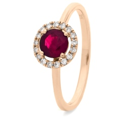 HRRGRY1044 Ruby & Diamond Single Band Halo Ring - rose
