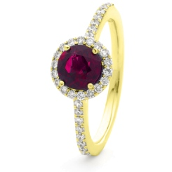 HRRGRY1049 Ruby & Diamond Single Shoulder Halo Ring - yellow
