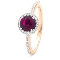 HRRGRY1049 Ruby & Diamond Single Shoulder Halo Ring - rose