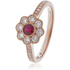 HRRGRY1063 Deco Round cut Ruby Cocktail Diamond Ring - rose