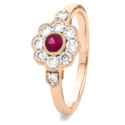 HRRGRY1066 Deco Round Ruby & Diamond Cluster Ring - rose