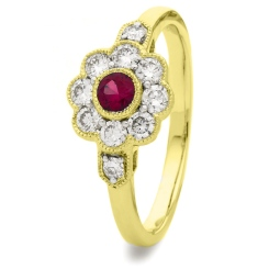 HRRGRY1066 Deco Round Ruby & Diamond Cluster Ring - yellow