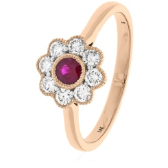 HRRGRY1069 Ruby Gemstone Flower Halo Ring - rose