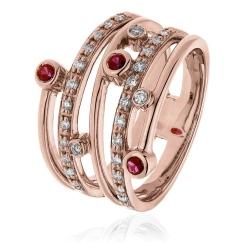 HRRGRY1085 Diva Ruby Gemstone Cocktail Diamond Ring - rose