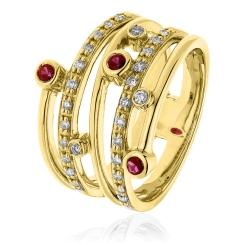 HRRGRY1085 Diva Ruby Gemstone Cocktail Diamond Ring - yellow