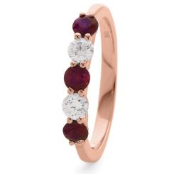 HRRGRY987 Ruby 5 Stone Diamond Ring - rose