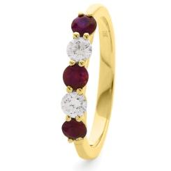 HRRGRY987 Ruby 5 Stone Diamond Ring - yellow