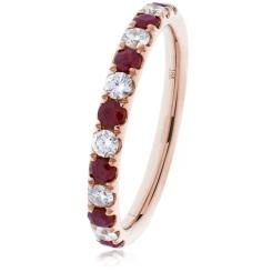 HRRGRY993 Ruby & Diamond Half Eternity Ring - rose