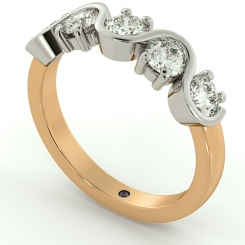 LEO Round cut 5 Stone Diamond Eternity Ring - rose