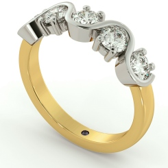 LEO Round cut 5 Stone Diamond Eternity Ring - yellow