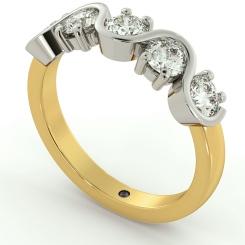 LEO Round cut 5 Stone Diamond Eternity Ring - yellow