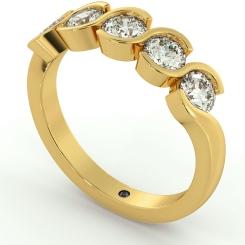 WHIRLPOOL Round cut Swirl 5 Stone Diamond Ring - yellow