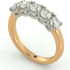 PICTOR 5 Stone Round cut Half Eternity Ring - rose