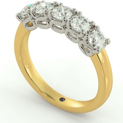 PICTOR 5 Stone Round cut Half Eternity Ring - yellow