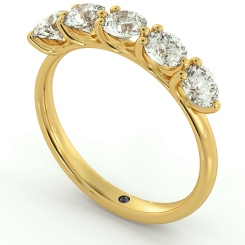 MUSCA Round cut 5 Stone Diamond Eternity Ring - yellow