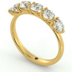 MUSCA Round cut 5 Stone Diamond Eternity Ring - yellow