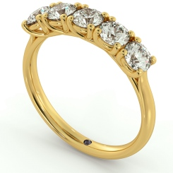 SPICA Round cut 5 Stone Crossover Eternity Ring - yellow