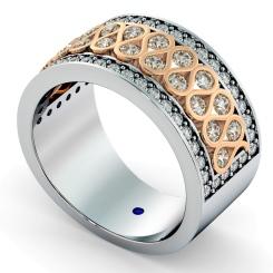 CAPELLA Round cut Half Circle Designer Ring - rose