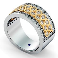 CAPELLA Round cut Half Circle Designer Ring - yellow