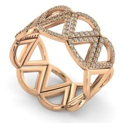 COLUMBA Round cut Half Geometric Cocktail Designer Diamond Ring - rose