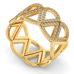 COLUMBA Round cut Half Geometric Cocktail Designer Diamond Ring - yellow