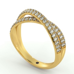 ORION Designer Crossover Round cut Diamond Eternity Ring - yellow