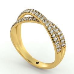 ORION Designer Crossover Round cut Diamond Eternity Ring - yellow