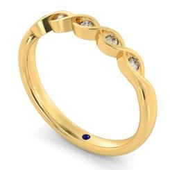 REGULUS Crossover Round cut 5 Stone Diamond Eternity Ring - yellow