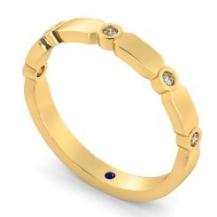 CARINA 5 Stone Round cut Diamond Designer Half Eternity Ring - yellow