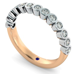 CURSA Bezel set Round cut Half Eternity Diamond Ring - rose