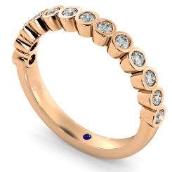 CURSA Bezel set Round cut Half Eternity Diamond Ring - rose