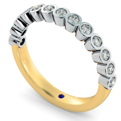 CURSA Bezel set Round cut Half Eternity Diamond Ring - yellow