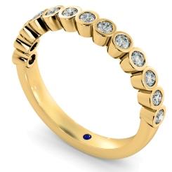 CURSA Bezel set Round cut Half Eternity Diamond Ring - yellow